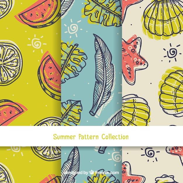 ヴィンテージスタイルの夏のパターンコレクション 無料ベクター