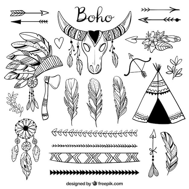 手描きのボホ要素コレクション 無料ベクター