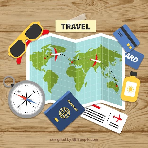 Карта и элементы путешествия с плоским дизайном Бесплатные векторы