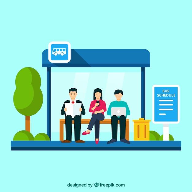 Автобусная остановка и люди с плоским дизайном Бесплатные векторы