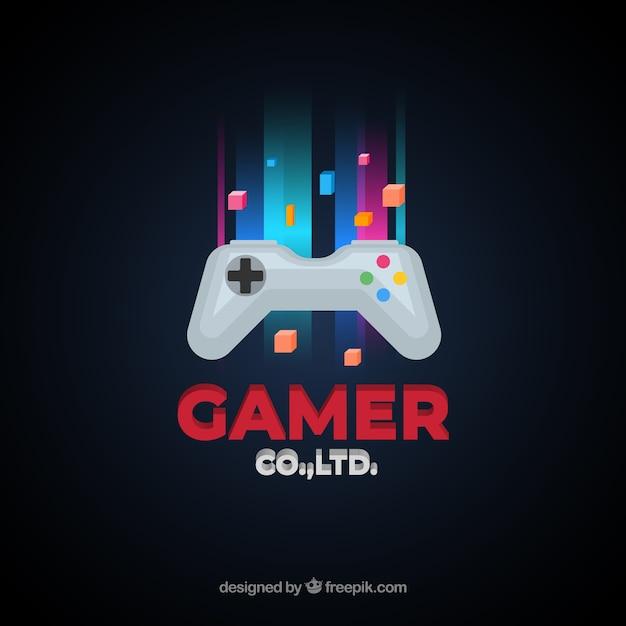 ジョイスティック付きビデオゲームのロゴテンプレート 無料ベクター