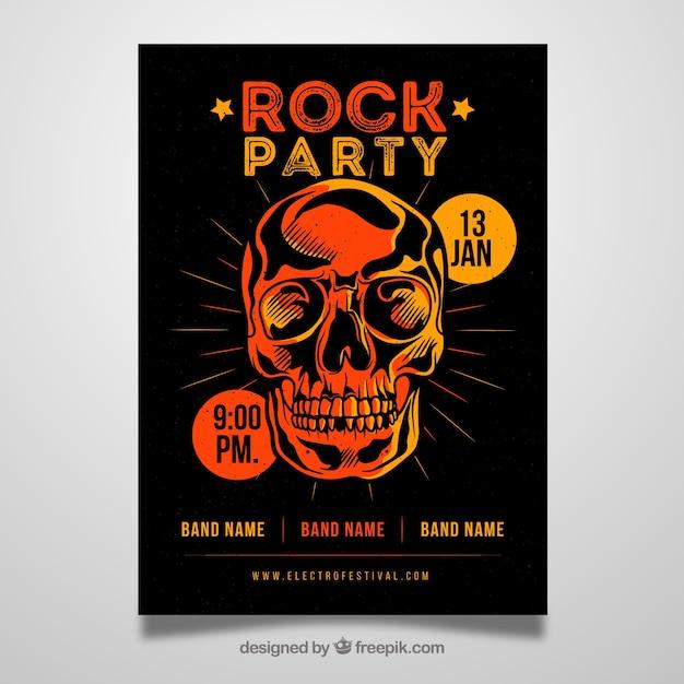 フラットスカルのロックパーティーポスター 無料ベクター