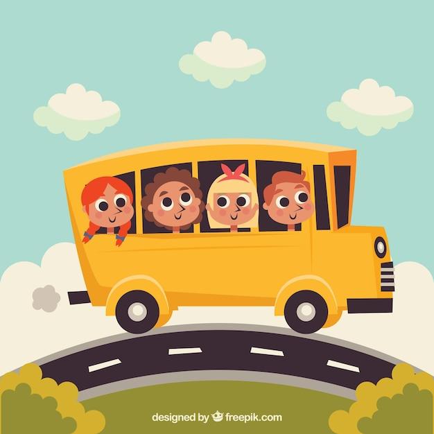 漫画のスクールバスとフラットデザインの子供たち 無料ベクター