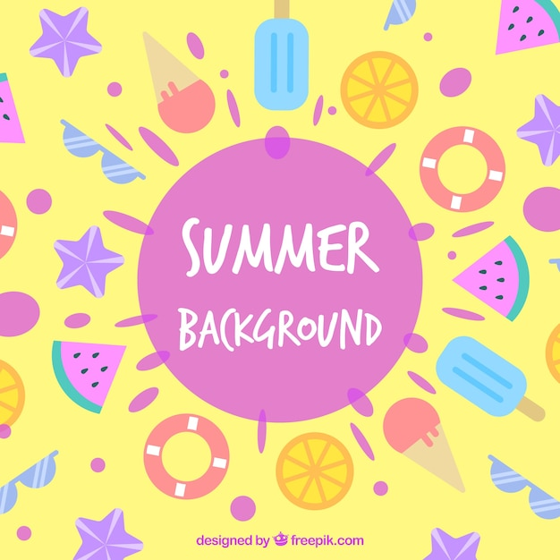アイスクリームとビーチ要素を備えた夏の背景 無料ベクター