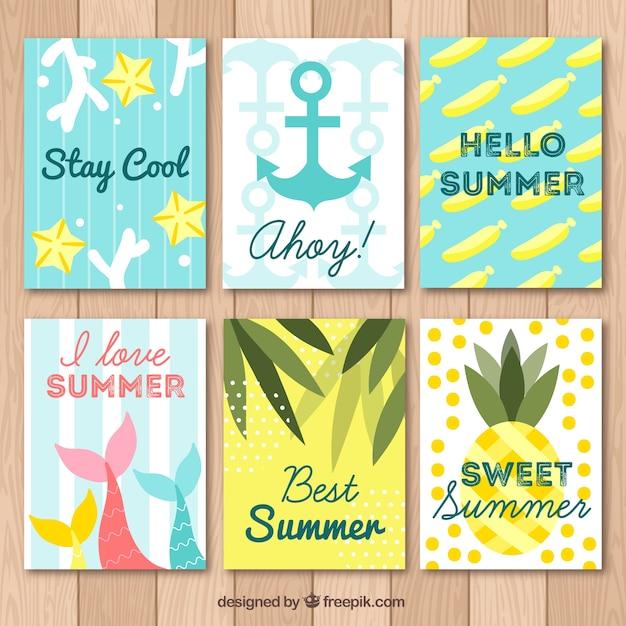 ビーチ要素を備えた夏のカードコレクション 無料ベクター