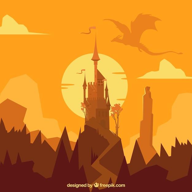 ドラゴン飛行と城のシルエットの背景 無料ベクター