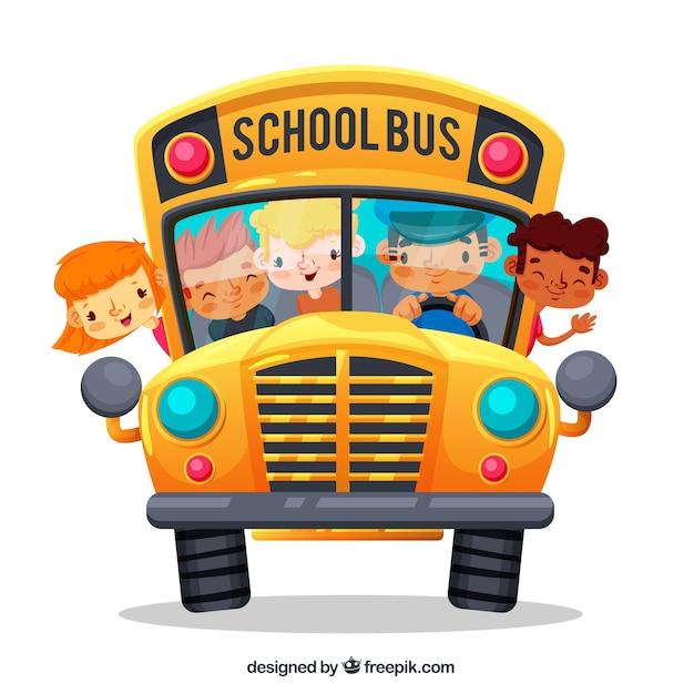 Мультяшный школьный автобус и дети с плоским дизайном Бесплатные векторы