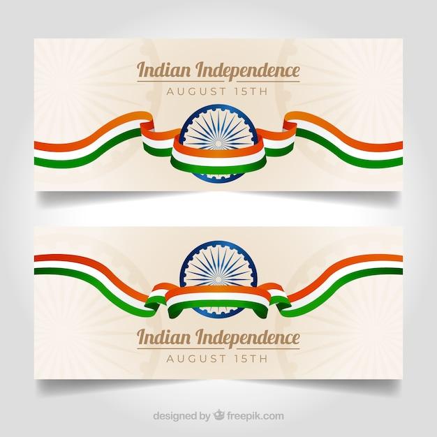 Элегантные баннеры дня независимости индии Бесплатные векторы