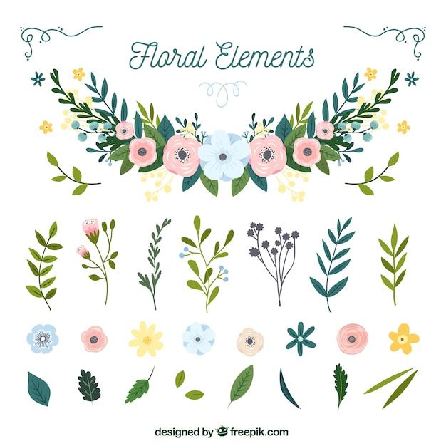 手描きの花の要素のカラフルなパック 無料ベクター