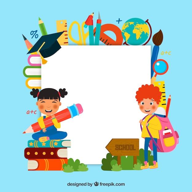 Назад в школу с детьми Бесплатные векторы