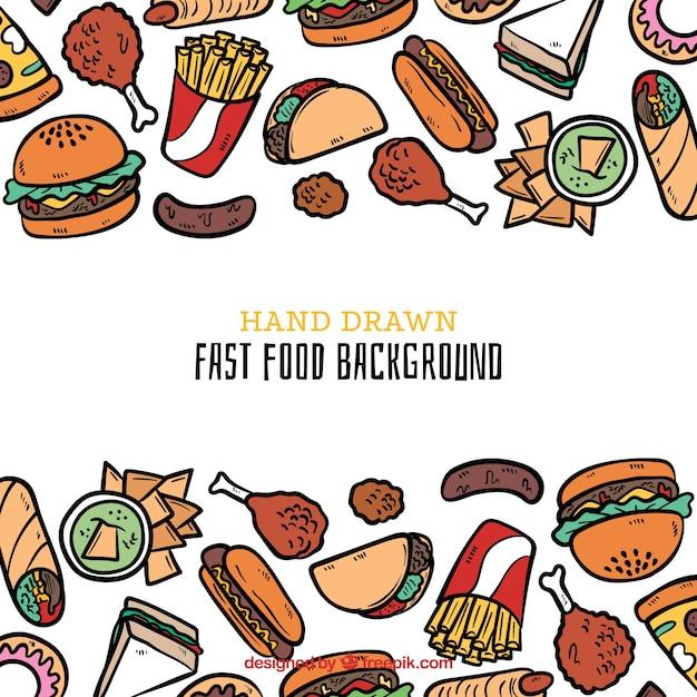 手描きのスタイルで食べ物の背景 無料ベクター