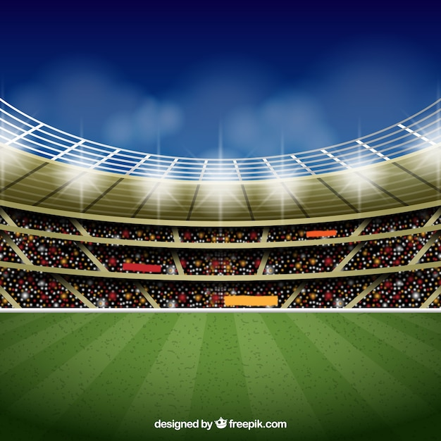 現実的なスタイルのサッカースタジアムの背景 無料ベクター