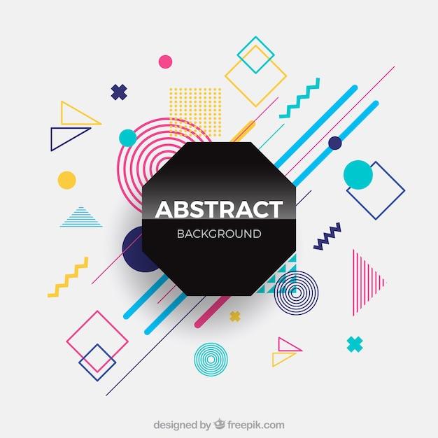 幾何学的形状を持つ抽象的な背景 無料ベクター