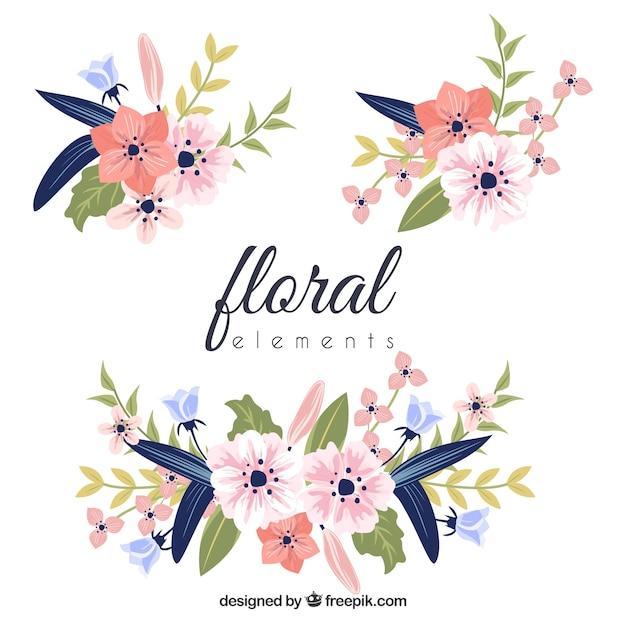 Красочная коллекция цветочных элементов с плоским дизайном Бесплатные векторы