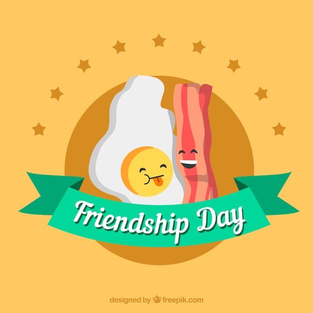 День дружбы с яйцом и беконом Бесплатные векторы