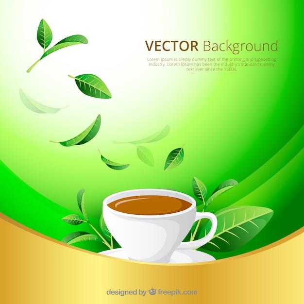 平らなデザインの茶葉の背景 無料ベクター