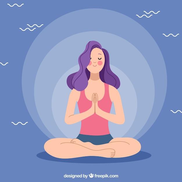 Концепция медитации со спортивной женщиной Бесплатные векторы