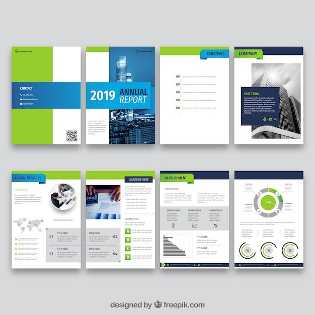 Дизайн годового отчета в плоском стиле Бесплатные векторы