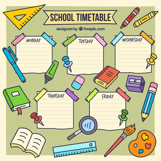 手描きの学校時間割テンプレート 無料ベクター