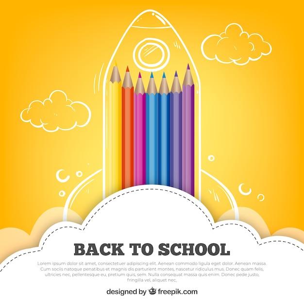鉛筆で学校の背景に戻る 無料ベクター