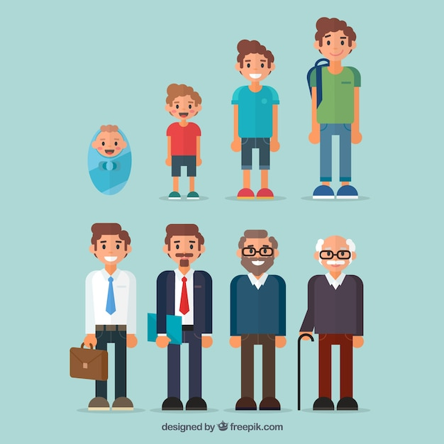 異なる年齢の男性のコレクション 無料ベクター