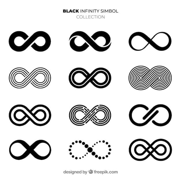 Элегантная коллекция черных бесконечных символов Бесплатные векторы
