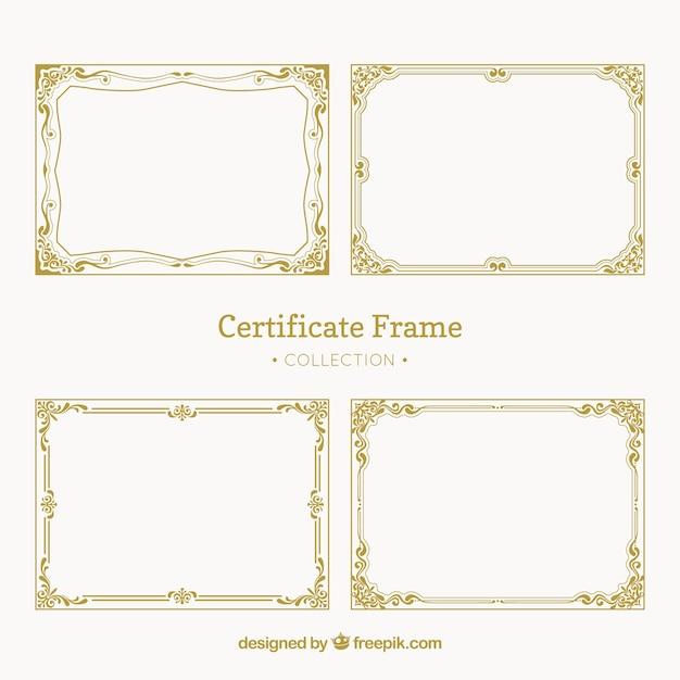 Винтажная упаковка рамок сертификатов Бесплатные векторы
