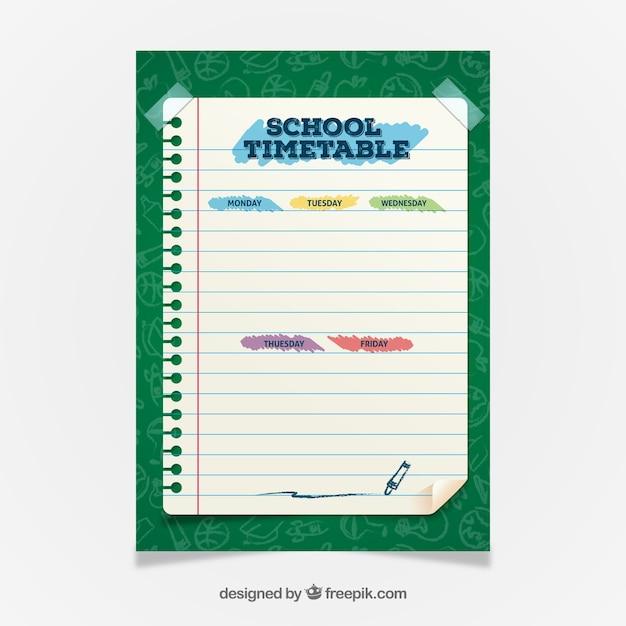 フラットデザインの素敵な学校の時刻表 無料ベクター