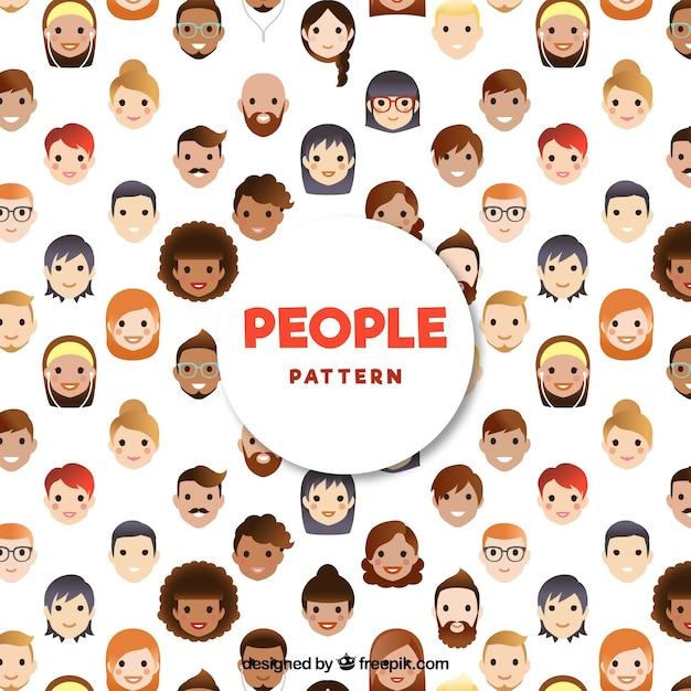 フラットデザインの人々のパターン 無料ベクター