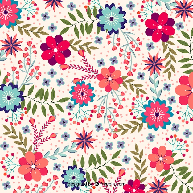 Прекрасный цветочный фон с плоским дизайном Бесплатные векторы