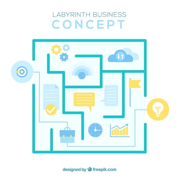 Современная концепция бизнеса с лабиринтом Бесплатные векторы