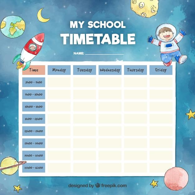 スペースコンセプトの学校のタイムテーブルテンプレート Premiumベクター