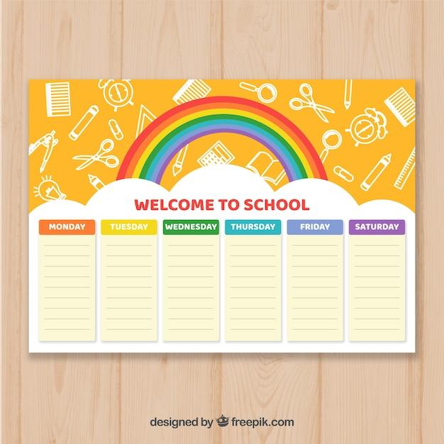 創造的な学校の時刻表 無料ベクター