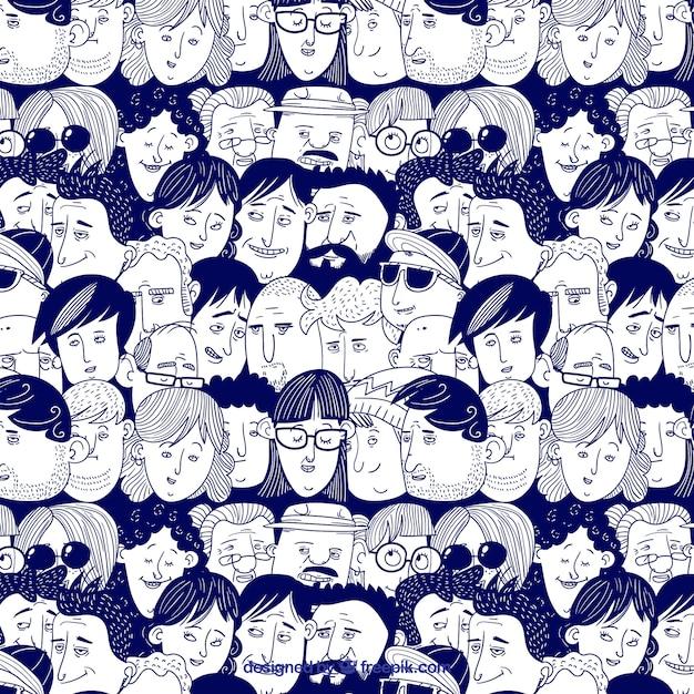 手描きのスタイルでカラフルな人々のパターン 無料ベクター