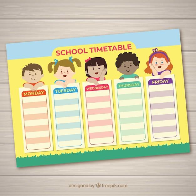 子供たちとの授業時間割 無料ベクター
