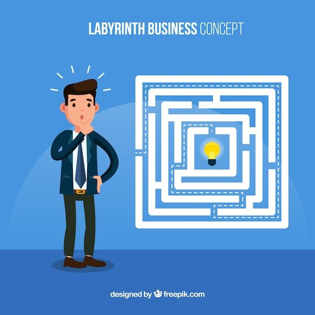 Бизнес-концепция с плоским лабиринтом Бесплатные векторы