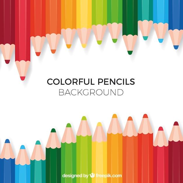 カラフルな鉛筆で学校の背景に戻る 無料ベクター