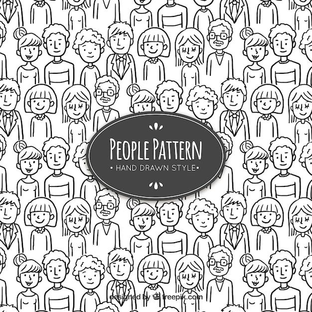 手描きのスタイルで人々のパターン 無料ベクター