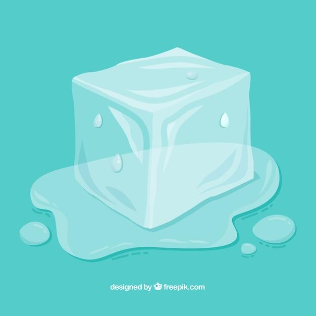 Таяние кубиков льда с ручным рисунком Бесплатные векторы