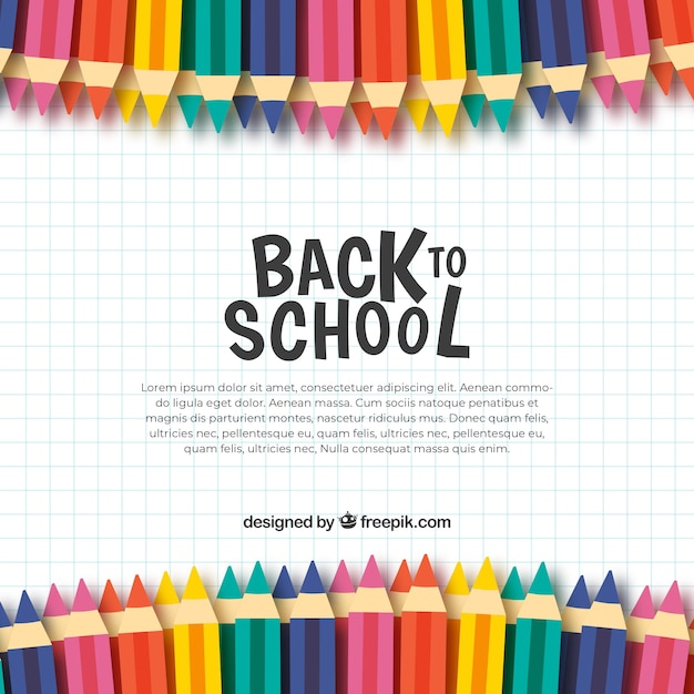 色鉛筆で学校の背景に戻る 無料ベクター