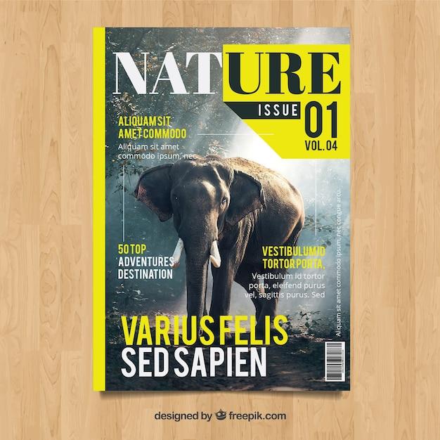 現代の自然マガジン、写真入りテンプレート 無料ベクター