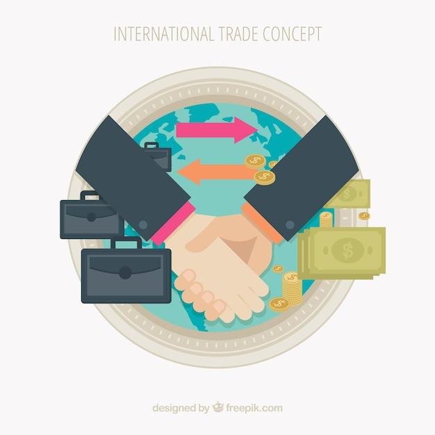 フラットデザインの現代国際貿易コンセプト 無料ベクター