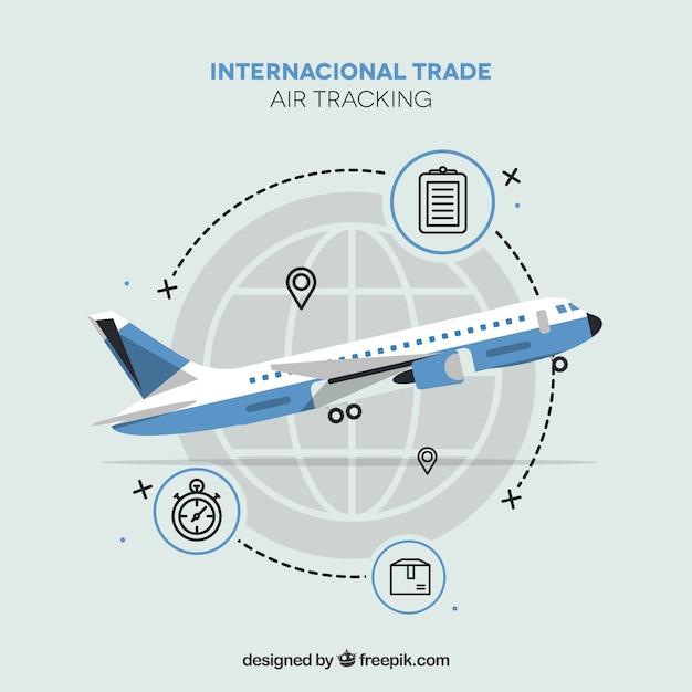 Современная концепция международной торговли с плоской конструкцией Бесплатные векторы