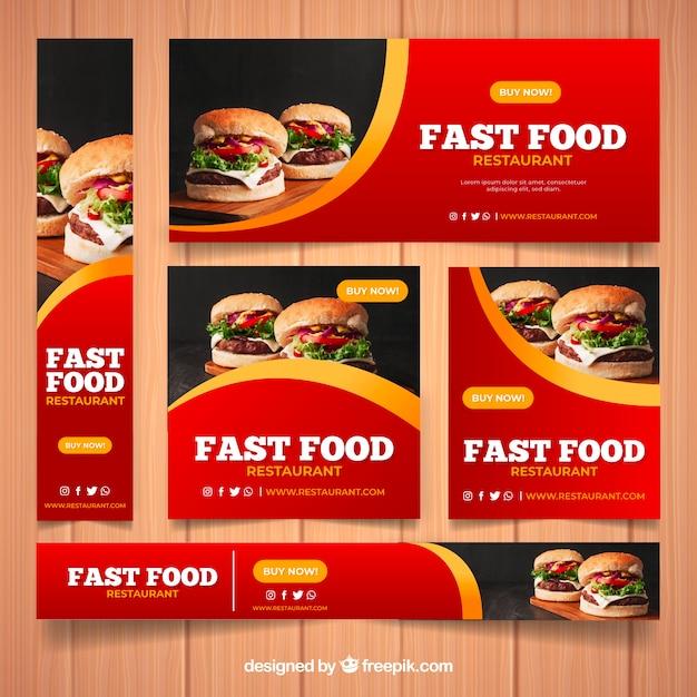 Набор баннеров ресторана с фотографией Бесплатные векторы