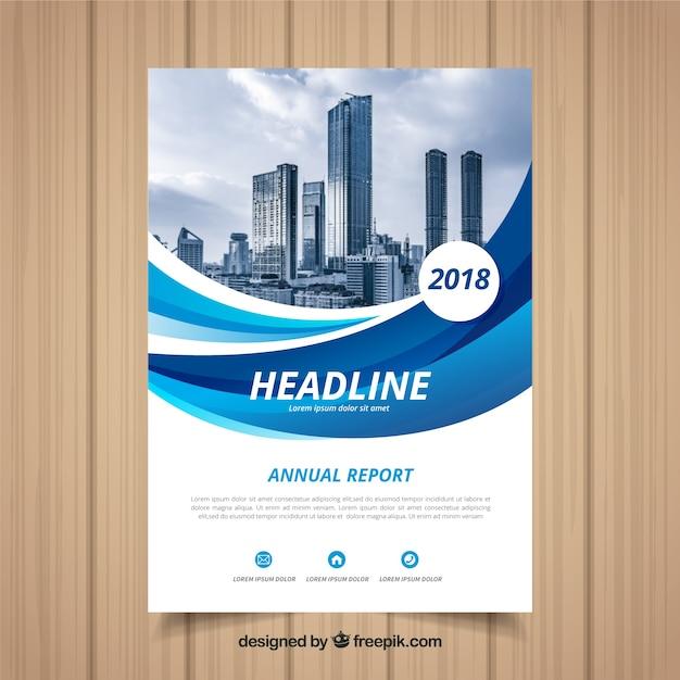 Голубой волнистый годовой отчет с изображением Бесплатные векторы