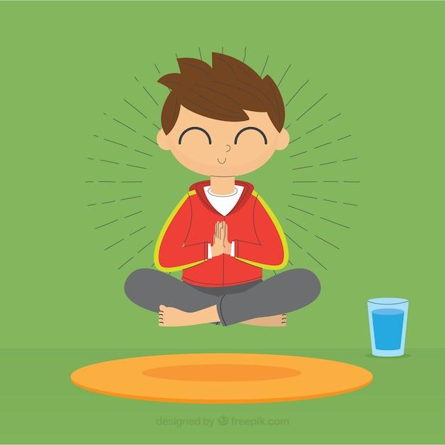 フラットデザインの瞑想コンセプト 無料ベクター