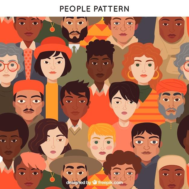 フラットデザインのカラフルな人々のパターン 無料ベクター