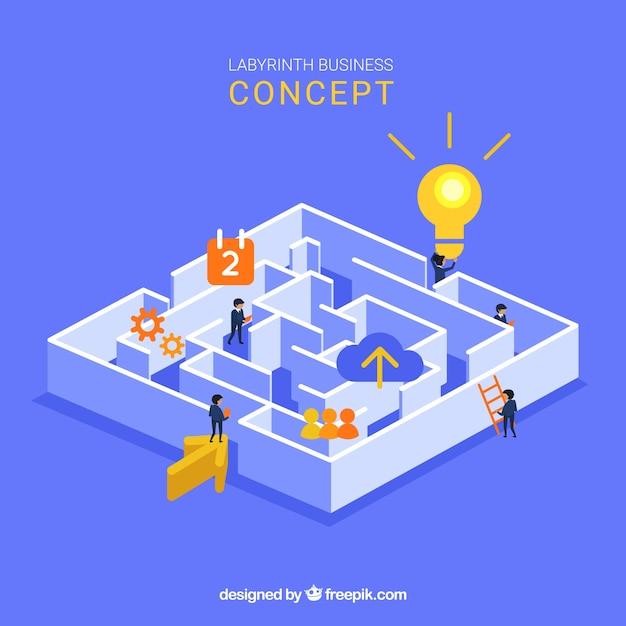 Бизнес-концепция с изометрическим видом лабиринта Бесплатные векторы