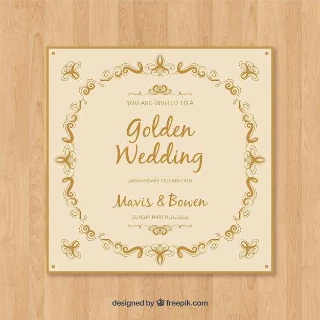 結婚記念日カード招待状 無料ベクター