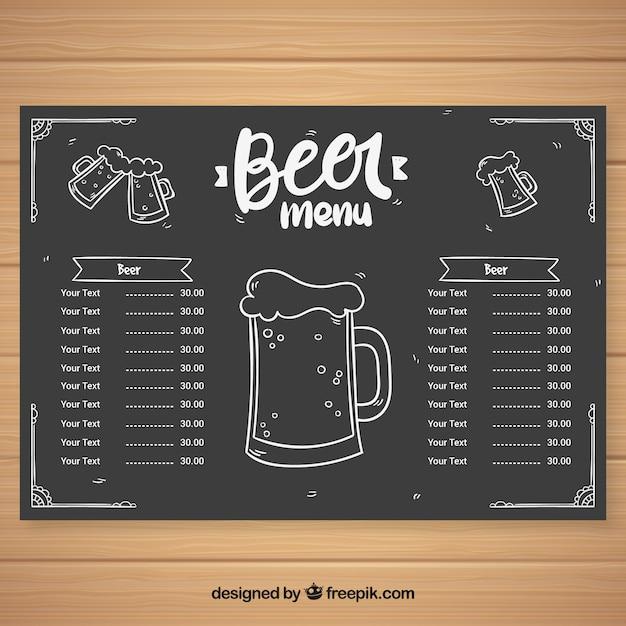 チョークスタイルのビールメニュー 無料ベクター